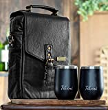 Tilvini Leather 2 Bottle Insulated Wine Bag And Tumblers....