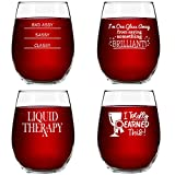 Funny Stemless Wine Glasses Set of 4 (15 oz)- Funny Novelty...