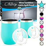 12 oz 2 Teal Stainless Steel Wine Tumbler - Double Wall...