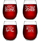 Set of 4 Crude & Rude Funny Wine Glasses (15 oz)- Novelty...