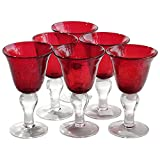Artland Iris Seeded Ruby 8 Ounce Wine Glass, Set of 6