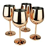 PG Copper / Rose Gold Stem Stainless Steel Wine Glass Set 4...
