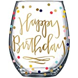 14K Gold Leaf Happy Birthday Colored Party Dots 19oz...
