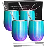 CHILLOUT LIFE Stainless Steel Wine Tumblers 4 Pack 12 oz -...