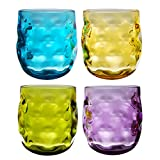 QG Clear Colorful Acrylic Plastic 14 oz. Wine Glass Rock...