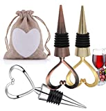 3PCS Gold Sliver Bronze Heart Shape Wine Bottle Stopper Set...
