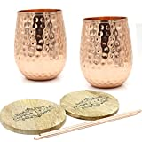 Copper wine Cups – 17 oz gleaming solid hammered copper...