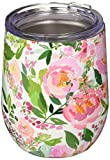 Mary Square Drink Charlotte Stainless Tumbler, 12 oz, Floral