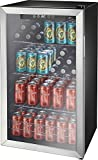 Insignia- 115-Can Beverage Cooler - Stainless steel/black
