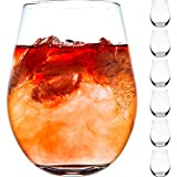 DIKO Clear Stemless Wine Glasses Set of 6 for Red or White...