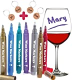 Wine Glass Markers, Pack of 7 By Vaci + 4 Wine Glass Charms,...