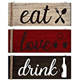 Jetec 3 Pieces Wood Home Sign Rustic Wooden Kitchen Wall...
