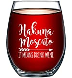 Hakuna Moscato It Means Drink Wine Funny Stemless Wine Glass...