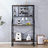 MELLCOM Industrial Wine Rack Table with Glass Holder,...