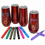 Wine Toyz Stemless Champagne Flutes - 4 Red Cups 6 Oz...