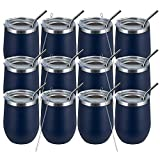 MEWAY 12oz/12 Pack Wine Tumbler Glasses with Lid -Double...
