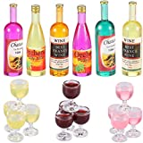 18 Pieces Dollhouse Wine Bottles Champagne Cups for Doll...