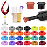 26Pcs Wine Glass Charms Tags with Bottle Stopper, Silicone...
