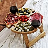 Wooden Outdoor Folding Picnic Table with Wine Glass Holder -...