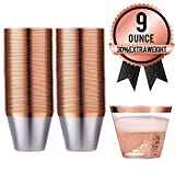 AMEDY'S 100 Gold Rose Rimmed Reusable Plastic Cups –...