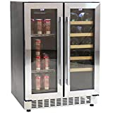 Sunnydaze Beverage and Wine Cooler Dual Zone Side-by-Side...