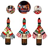 3Pcs Christmas Wine Bottle Cover, Ugly Scarf & Hat Decor...