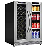 24 Inch Beverage and Wine Cooler Dual Zone, 2-IN-1 Wine...
