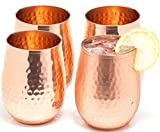 Copper wine glasses set of 4 – 17oz gleaming 100% solid...