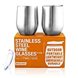 Stainless Steel Wine Glasses with Lid - 12 oz Double Wall...