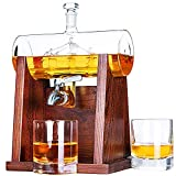 Jillmo Whiskey Decanter Set, 1250ml Whiskey Decanter with 2...