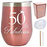 50th Birthday Gift for her - 50 & Fabulous 12 oz Stainless...
