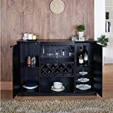 Wine BAR Buffet and Storage Cabinet with Center Glass and...