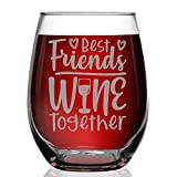 Shop4Ever Best Friends Wine Together Laser Engraved Stemless...