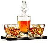 European Style Whiskey and Wine Twist Spiral Decanter with 4...