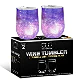 2 Pack Stainless Steel Wine Glass Tumbler with Lid, 12 oz...