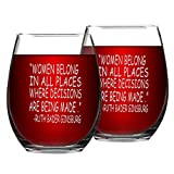 Set of 2 RBG Quote Stemless Wine Glasses Women Belong in...