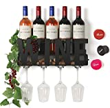 SODUKU Wall Mounted Metal Wine Rack 4 Long Stem Glass Holder...