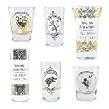 Game of Thrones Glasses Set of 6 Black and Gold Premium Game...