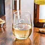 Personalized Stemless Wine Glass Monogrammed Wedding Decor...