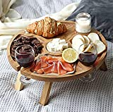 Wooden Folding Picnic Table with Wine Glass Holder -...