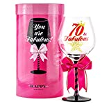 70 and Fabulous Birthday Wine Glass for Women | Fun Gift for...