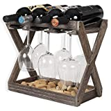 Rustic State Cava Solid Wood Wine and Glass Rack Cork...