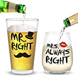 Mr. Right and Mrs. Always Right Stemless Wine Glass and Beer...