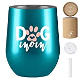 Dog Mom - Dog Mom Gifts - 12 oz Stainless Steel Wine Tumbler...