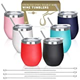 THLEITE 6 pack 12 oz Stainless Steel Stemless Wine Glass...