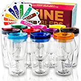 Insulated Wine Tumbler With Lid (SET OF 10) +BONUS Name...