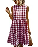 LANISEN Babydoll Dresses for Women Plaid Sleeveless Summer...