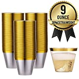 AMEDY'S 100 Gold Rimmed Reusable Plastic Cups – Thick,...