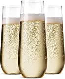 48 Pack Stemless Plastic Champagne Flutes Disposable 9 Oz...