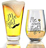 Mr. Right and Mrs. Always Right Wine Glass, Beer Glass...